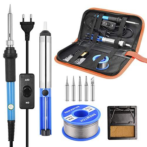 Kit de soudure SREMTCH, 60W 220V, soudure à l'étain à température réglable, 5 pointes différentes, support, fil à souder pour diverses réparations.