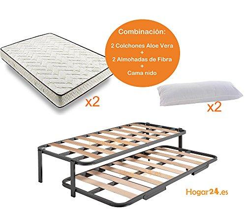 HOME24.es-Bed Nest avec 2 Sommiers Structure Renforcée Double Bar Superior + Jambes + 2 Matelas Aloe Vera + 2 Oreillers en Fibre Cadeau-90x190cm