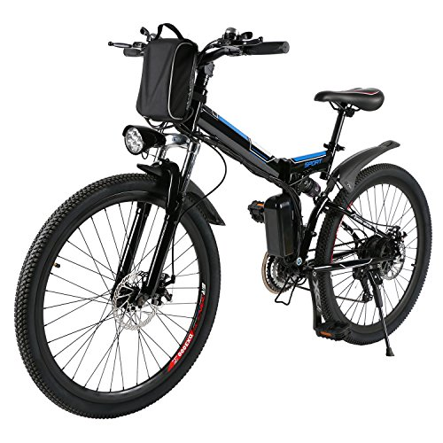 AMDirect Vélo de montagne électrique AMDirect 26 pouces roue pliante Ebike grande capacité Batterie au lithium 36V 250W 21 vitesses Premium Full Suspension et Shimano Gear (noir)