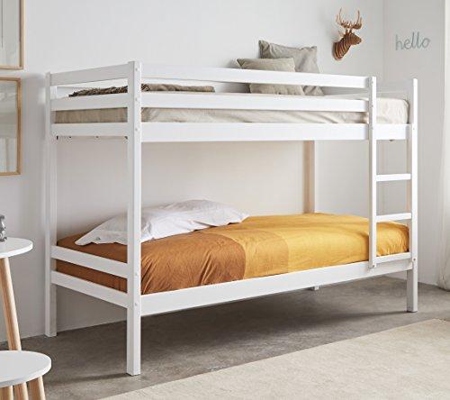 Miroytengo Litera Premier en blanc Fabriqué en bois dans la mesure 90x190 cm avec des cadres de lit, y compris la balustrade Top et échelle