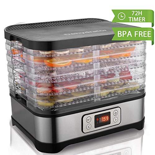 Déshydrateur d'aliments Hopekings avec 5 plateaux ajustables, écran LCD, minuterie, température ajustable, déshydrateur de fruits et légumes, 250 W, BPA gratuit