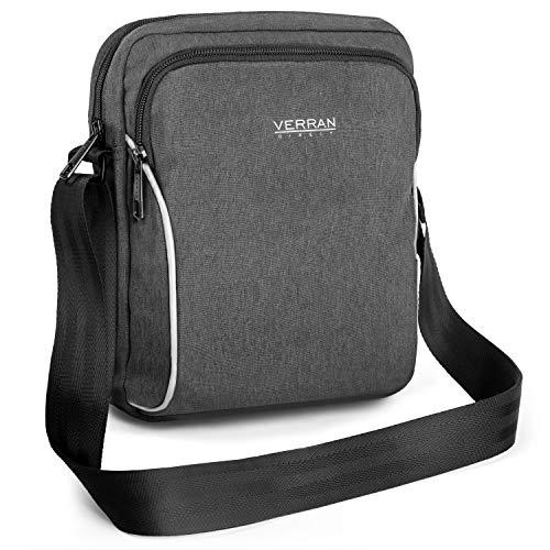 Verran Shoulder Bag Man Man Shoulder Bag Man Shoulder Bag Man Shoulder Bag Verran résistant à l'eau et aux rayures avec support iPad et tablette 26x6x21 centimètres gris foncé