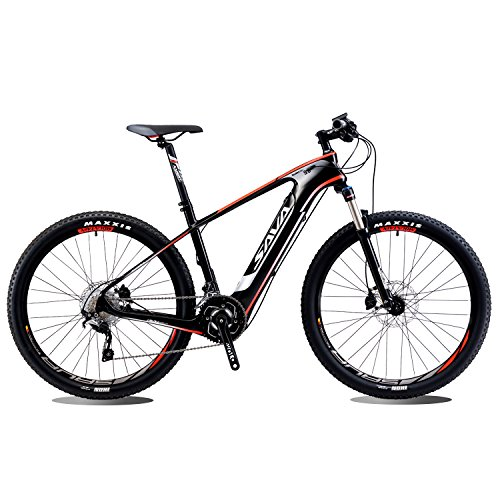 SAVADECK Knight9.0 Carbon Bike e-Bike Electric Mountain Bike Pedalec-MTB Assist avec Shimano SLX M6000 20S et 36V/10.4Ah Samsung batterie amovible au lithium-ion (27.5 * 17'')