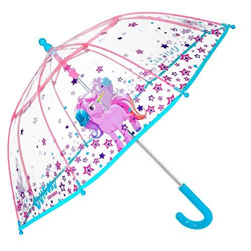 Parapluie Fille Unicorn - Parapluie Bubble Transparent Résistant, Coupe-vent et Long - Ouverture Sécurité - 3/6 ans - 64 cm de diamètre - Perletti Cool Kids