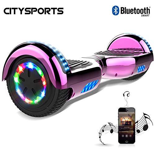 CITYSPORTS Hoverboard 6,5 pouces, scooter auto équilibrant Scooter électrique, phares de roues à DEL, Bluetooth, moteur 700W