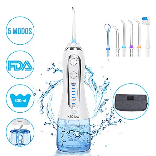 Irrigateur buccal portable professionnel ESSEASON - Irrigateur dentaire rechargeable à 5 modes, réservoir d'eau amovible de 300 ml, IPX7 étanche avec 6 buses pour le nettoyage dentaire