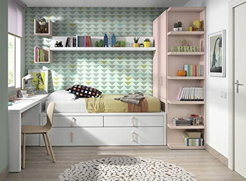 ambiato Vita 18 - Lit enfant avec lit d'appoint et tiroirs, Armoire à pharmacie, Bureau, Système d'étagères