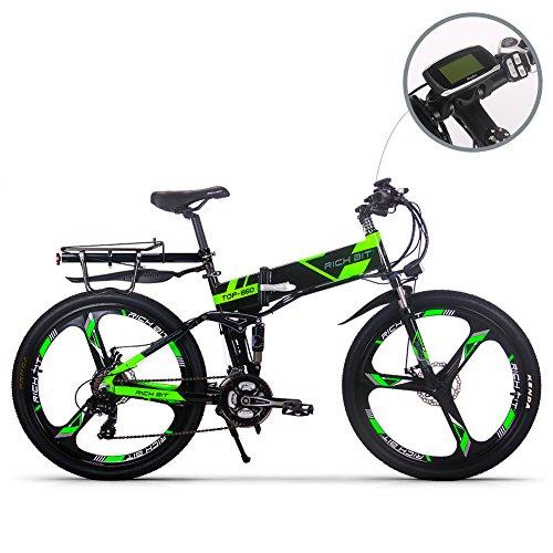 RICH BIT Electric RT860 E-Bike 12.8Ah Batterie au lithium 36V * 250W Moteur Shimano 21 vitesses VTT pliable VTT pliable 26 pouces Frein à disque intelligent Vélo électrique Vert