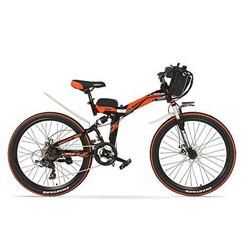 Vélo K660D 26 pouces puissant et puissant, moteur 48V 12AH 500W, suspension complète, cadre en acier à haute teneur en carbone, vélo électrique pliable, frein à disque. (Noir rouge, 500W)
