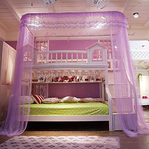 HQYXGS HQYXGS U Cut Type Mosquito Canopy, Type of Bed Rail Children Nets 50d Threads Coded Count Mosquito-Curtain Purple Twin2