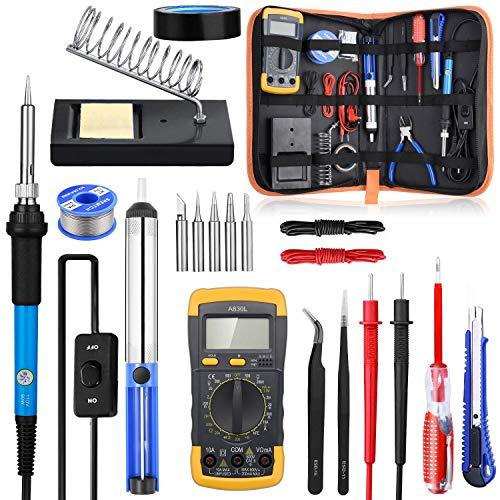 Brasage à l'étain, SREMTCH 220V 60W Kit de brasage électrique avec boîte à outils réglable en température 200-450℃, set de brasage électronique Multimètre numérique, pointes de brasage etc.