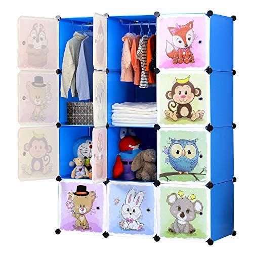 BRIAN & DANY Armoire modulaire à portes pour enfants avec motifs animaux Tablettes par modules Armoire de rangement, bleue, 110 x 47 x 147 cm