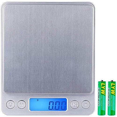 Zacro Digital Presision Balance de cuisine de précision numérique, 500g x 0,01g Balance de haute précision, Balance de cuisine multifonctionnelle de poids Pro pour les repas, les bijoux, l'écran LCD, 2 plateaux et les piles incluses.