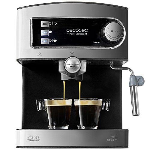Cafetière expresso Cecotec Power Espresso pression 20 bars, Inox, réservoir 1.5 litre, couleur acier et noir, 850 W, 0 décibels