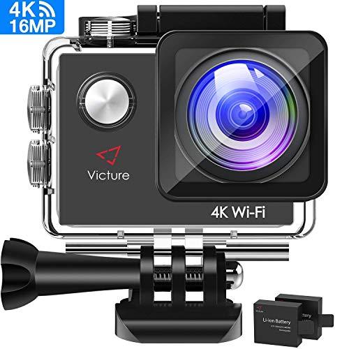 Victure Sports Caméra 4k Wifi 16MP Imperméable Caméra Action Sport Sport Aquatique Eau Aquatique 30m Ecran LCD 2.0 pouces 170 Large Angle 2 Batteries de 1050mAh avec Kit Accessoires Multiples