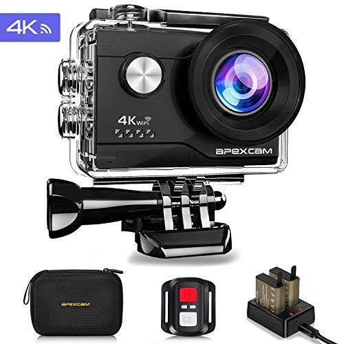 Apexcam Caméra de sport Apexcam 4K 16MP WiFi Ultra HD Caméra sous-marine étanche étanche 40M Caméra anti-vibration 2.0'LCD 170° Wide Angular 2.4G Remote 2 piles 1050mAh et accessoires multiples
