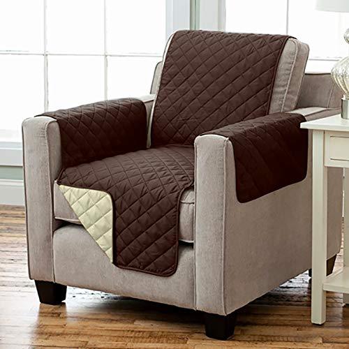 Kamaca - Housse de fauteuil réversible avec accoudoirs et poches, chaude et douce, pour protéger le dossier du siège, polyester, Braun - Beige, 191 x 165 cm