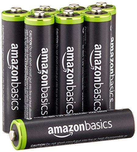 AmazonBasics - Lot de 8 piles rechargeables AAA Ni-MH (préchargées, 1000 cycles, minimum 750 mAh) - Le couvercle extérieur peut varier.