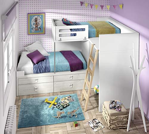 ambiato Vita 52 - Module de lit pour chambre d'enfant avec tiroirs et bureau