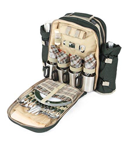 Collection Greenfield Super Deluxe - Sac à dos pique-nique pour quatre personnes, vert forêt