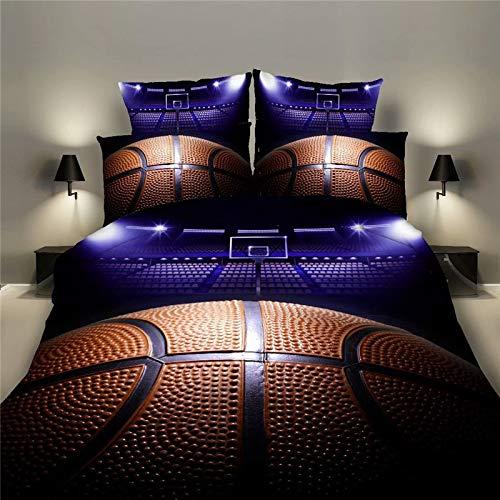 BFMBCH New Home Textile Set de basket-ball trois pièces 3D Football Rugby Literie E 168 cm * 229 cm