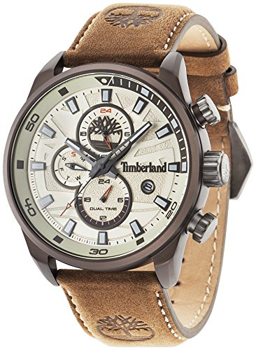 Timberland Henniker II - Montre homme à quartz beige avec cadran analogique et bracelet cuir brun 14816JLBN