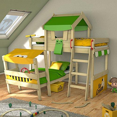 WICKEY Lit double CrAzY Trunky Littera Lit d'enfant 90x200 pour 2 enfants en design oblique avec sommier en bois, vert pomme-jaune