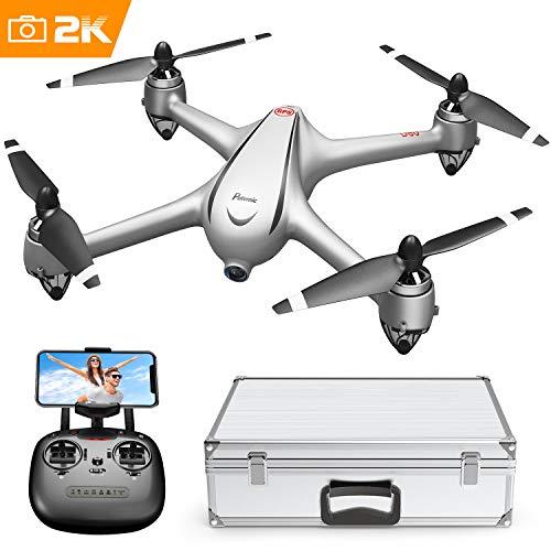 GPS Drone Potensic Drone, Drone RC Brushless avec caméra Full HD 2K, avion FPV avec fonction Follow Me, route en avion, grand angle 110º, rotation du point d'intérêt, maintien en altitude, retour à la maison, D80