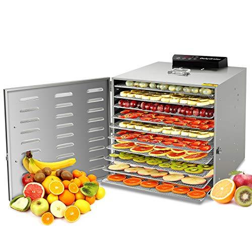 Déshydrateur d'aliments complet en acier inoxydable GCSJ, 10 étages, avec minuterie, écran LCD, déshydrateur de fruits, légumes, viande et fines herbes, 1000 W, déshydrateur à température réglable