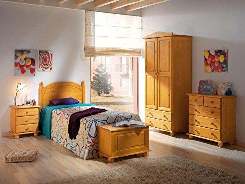 Armoire à deux portes en bois de pin couleur miel