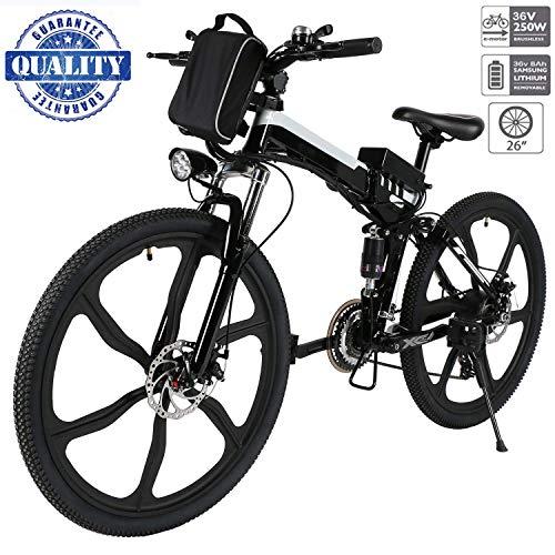Vélo de montagne électrique Hiriyt 26', 250W, 36V Batterie E-Bike Système de transmission 21 vitesses avec lampe de poche et batterie au lithium amovible avec trois modes de fonctionnement (26' Noir_1)