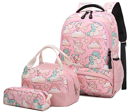 Sac à dos Unicornio School Girl Teenagers Sac à dos Casual Set avec sac à lunch et étui à crayons rose