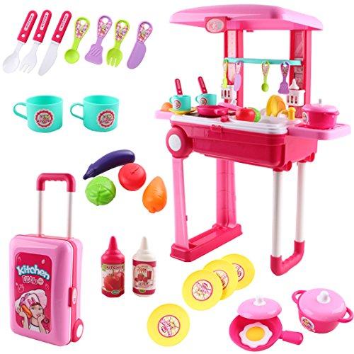 deAO Ensemble de cuisine pliable pour petit chef deAO dans un étui transformable Étui de jeux avec accessoires, lumières et sons (rose)