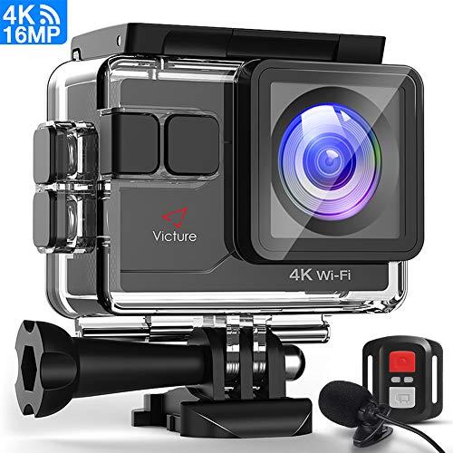 Victure Sports Caméra 4K WiFi 16MP 16MP 40M Caméra d'action dans l'eau avec télécommande et microphone externe, EIS fonctions anti-vibration et ralenti, deux piles et de multiples accessoires Kit de accessoires