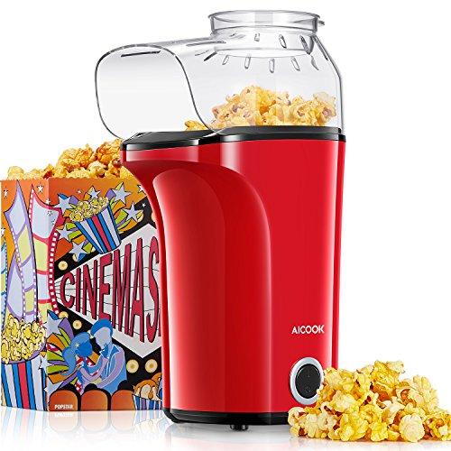 Popcorn, Aicook 1400W Machine automatique de Popcorn pour faire rapidement et facilement 16 tasses de Popcorn, grande capacité, air chaud sans huile, couvercle amovible et sans BPA