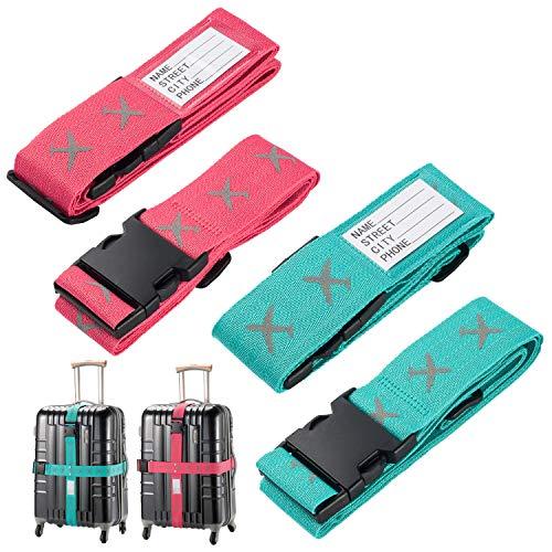 Sangles pour bagages, 4 paquets de 4 valises de voyage réglables en hauteur et en largeur Ceintures fendues pour étiquettes d'identification Accessoires de voyage