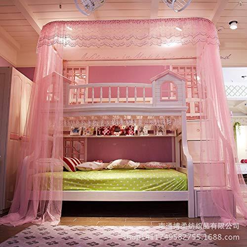 HQYXGS Taille en U Type de lit moustiquaire Auvent de lit, type de barrière de lit Filets pour enfants Filets 50d Nombre de fils codés Nombre de moustiquaires-rideaux Reine rose1