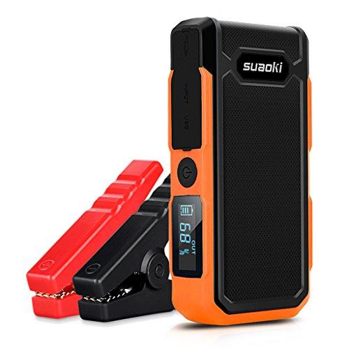 Suaoki U10 - 20000mAh Démarreur, 800A Car Starter Batter Batterie (batterie externe rechargeable, lampe de poche LED, multifonction, avec pincettes intelligentes) (orange)