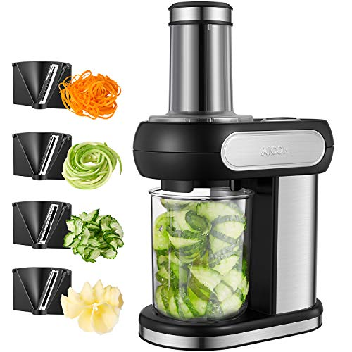 Coupe-légumes électrique AICOK, Machine à couper en spirale, 4 accessoires de coupe, Spiraliseur de légumes avec corps en acier inoxydable, bol de préparation amovible de 1.25L, 100W