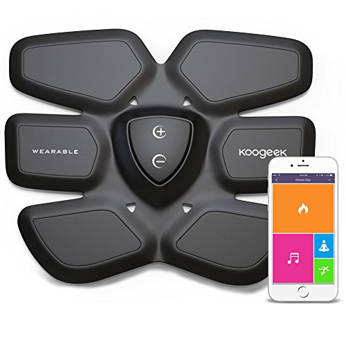 Koogeek Appareil d'entraînement abdominal Appareil d'entraînement abdominal Intelligent Muscle Stimulation Fat Burning for Charge Abdomen Fitness Gear Pad App App Free Andriod IOS sans fil