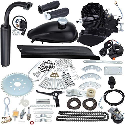 Sange 2 Stroke Pedal Cycle Kit de conversion du moteur à essence et à gaz Kit de refroidissement d'air Kit moteur motorisé pour moto motorisée (Noir, 50cc)