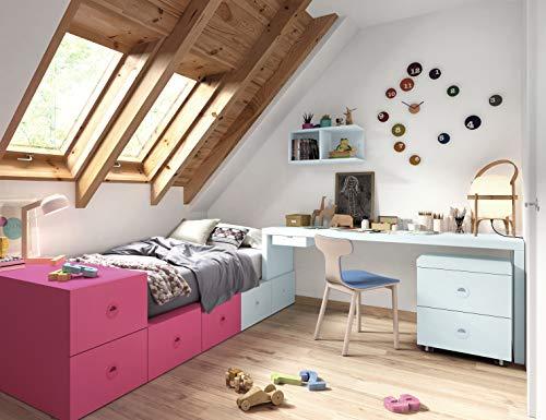ambiato La cama para habitación Infantil Vita 05 modules de cajón offre beaucoup d'espace pour jouets, bureau, conteneur avec roues