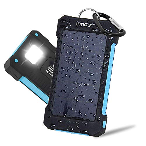 Innoo Tech Chargeur Solaire 10000mAh, Bloc d'alimentation portable avec batterie externe et protection IP65 (antichoc, étanche à l'eau, à la poussière), Indicateurs et lampe de poche LED pour téléphone Android, Apple, Haut-parleurs