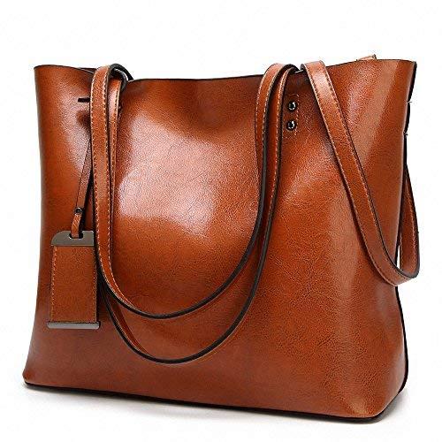 Women's Soft Shoulder Bags Cuir Sacs de grande capacité Sacs Retro Vintage Couvercle Vintage Manche totalisateur occasionnel totalisateur totalisateur Marron