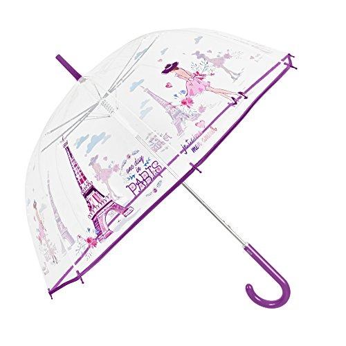 Parapluie Transparent Femme - Parapluie Automatique Classique à Bulles - Paris Print - Fashion Fantasy - Résistant au vent - 89 cm de diamètre - Perletti Time