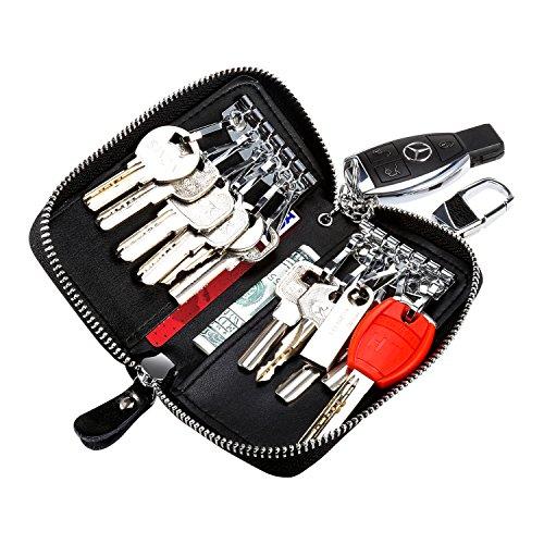 Porte-clés, Foonii une clé de moto ou de voiture et petit porte-clés en cuir avec fermeture à glissière Porte-clés en cuir de l'organiseur de clés en cuir (noir)
