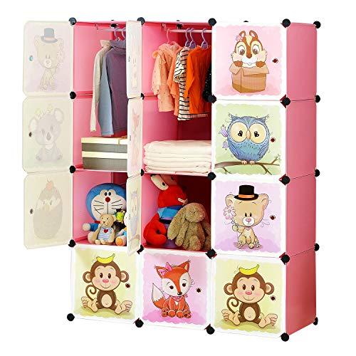 BRIAN & DANY Armoire modulaire à portes pour enfants avec motifs animaux Tablettes par modules Armoire de rangement, rose, 110 x 47 x 147 cm