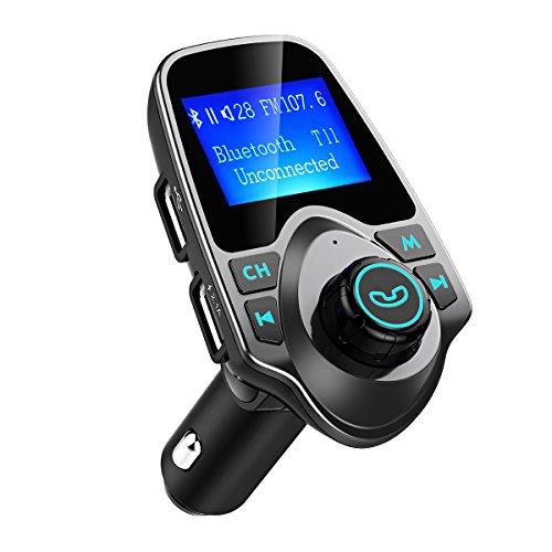 Émetteur FM mains libres Bluetooth VicTsing Voiture, Lecteur MP3 de voiture, Adaptateur radio, Chargeur de voiture de 1,44 pouce gris USB