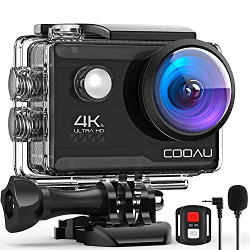 COOAU Caméra de sport 4K WiFi 20MP Caméra d'action submersible 40M eau avec télécommande et microphone externe, caméra aquatique avec 2 piles 1200 mAh et divers kits pour la plongée avec casque de vélo