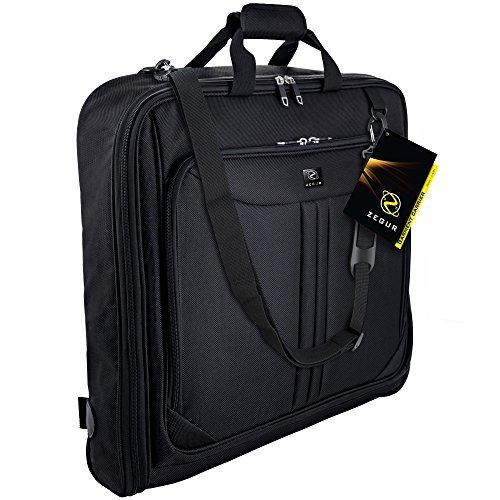 Etui à vêtements Zegur pour 3 costumes ou robes idéal comme bagage à main - Etui de voyage d'agrément ou d'affaires de 1 m - Sac avec compartiments et bandoulière réglable - Noir